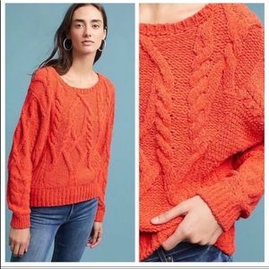 Sleeping On Snow Cabled Chenille Sweater Orange S